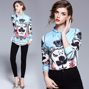 2020 Runway Luxury Baroque Crown Print Bow Womens Casual Office Button Front Lapel Neck Long Sleeve Top Shirt Blouse New Arrival Wholesale