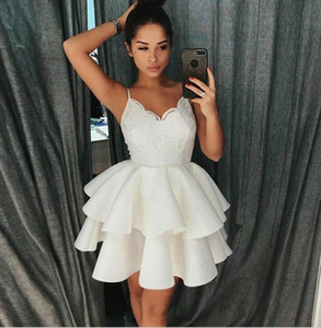 White lace spaghetti party dress cheap short prom dresses cocktail girls gowns mini cocktail dress on Sale