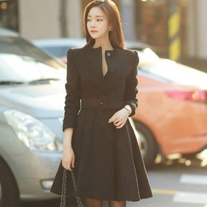 Wholesale 2018 Winter Single Breasted Woolen Black Outwear Slim Full Sleeve Pleated Solid Casual Long Coat