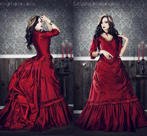 Wholesale plus size gothic victorian wedding dresses for sale - Group buy Gothic Victorian vintage wedding dresses plus size Cosplay Costumes Half Sleeves Ruffles Draped Burgundy Red Ball Gown bridal dress