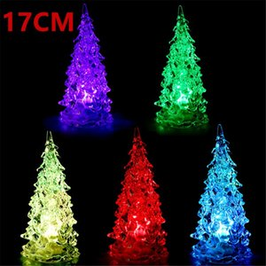 Colorful Crystal Acrylic Christmas Tree LED Night Light Changing Tower Lamp Home Decoration Xmas Light Gift Party Wedding Decorations