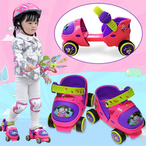 Wholesale EUR size Adjustable Children Roller Skates Colors Double Row Wheels Skating Shoes Kids Two Line Toy Patines Gifts Car