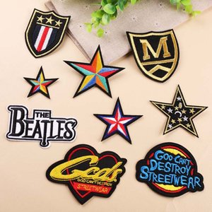 Wholesale quality Classic Alphabet Letters Multicolor Star Badge Combination Embroidery Cloth Stickers Patches Embroidered Iron on Patches F