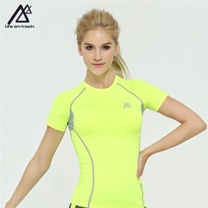 Wholesale Life on Track Sports Women Performance O Neck Workout Short Sleeve Workout Tee Yoga Running Biking Sports T Shirt Fast Dry