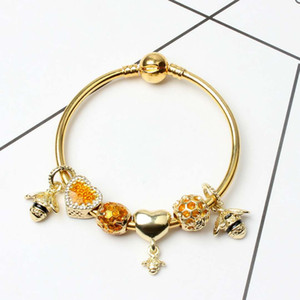 Wholesale New Fashion Bracelets For Pandora European Charms Love Heart Beads Queen Bee pendant Bangle for Christmas gift Diy Jewelry