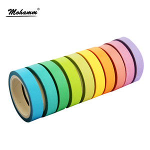 Wholesale 10 box Rainbow Solid Color Japanese Masking Washi Sticky Paper Tape Adhesive Printing DIY Scrapbooking Deco Washi Tape