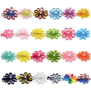 Wholesale 24pcs Hair Bows For Girls Kids Cute Hairpin Grosgrain Ribbon Flower Hair Clip Barrettes Korean Hair Accessories