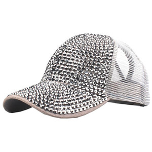 Wholesale women caps rhinestones for sale - Group buy women hat summer Women Rhinestone Hat Female Baseball Cap breathable mesh Bling Diamond male baseball cap casquette homme A8