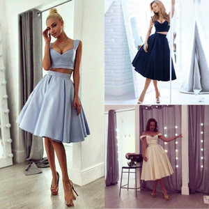 Wholesale 2018 Two Pieces Short Corset A Line Prom Dresses Sweetheart empire Stain Knee Length Custom Made Homecoming Graduation Party cocktail dress