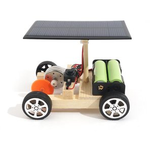 Wholesale DIY Solar Hybrid Electric Vehicle Car Wooden Assembly with Rechargeable Battery Science Model Educational Toys IQ Intelligence