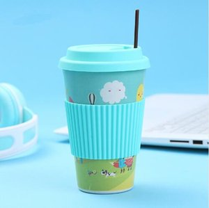 Wholesale Heat Resistance Eco Friendly Bamboo Fiber Mug Coffee Mugs With Silicone Lid Tea Milk Bear Cup Drinkware Water Bottle