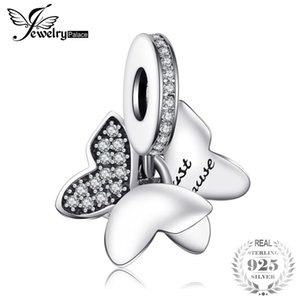 Wholesale Jewelrypalace Sterling Silver Butterfly Fairy White Murano Glass Pave Cubic Zirconia Charm Bracelets Gifts For Women