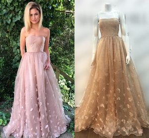 Wholesale tulle rose petals for sale - Group buy Rose Pink Strapless Prom Dresses Petal Tulle Organza Floor Length Brown Prom Dresses Formal Evening Dresses Zipper Up