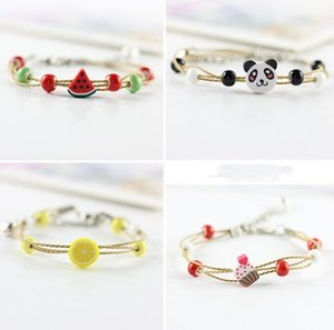 Wholesale Cute Ladies Kawaii Jumbo Women Bracelet For Girl Cartoon Simple Colorful Sisters Animal Fruit Soft Pottery Jewelry