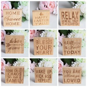 Wholesale decorative wood ornaments resale online - Wood Block Sign Plaque Decorative word plaques Wooden Ornament YOU ARE ALWAYS LOVED HOME SWEET HOME for Home Decor cm