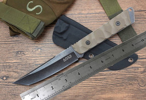 Wholesale Outdoor tactical survival knife K sheath Fixed blade hunting knife Stone wash Tanto blade knives