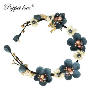 Wholesale Bride Blue Flower Headband Pearl Headdress Wedding Handmade rattan Hair Accessories Hairclip Women wreath Decoration on the Head