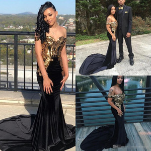 New Gorgeous Off the Shoulder Black Mermaid Prom Dresses With Gold Sparkly Appliqued Sweep Train Evening Dresses Couple Wear on Sale