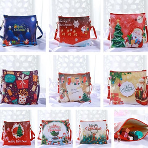 Wholesale New 9 Styles Santa Claus PU Skin Lady Single Shoulder Package Cosmetic Bag Leisure Bags Storage BagsFactory Wholesale T7D009