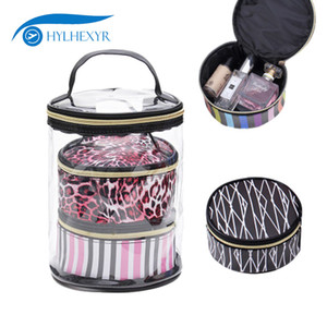 Wholesale Hylhexyr Set Cylinder Shaped Travel Make Up Bag Waterproof PVC WCosmetic Bags Case Package Toiletry Kits Organizer