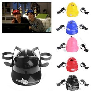 Wholesale Hot sale Plastic Handfree Beer Drinking Hat Beverage Holder Helmet Drinking Straws Lazy Helmet Festive Party Favors for Men Women