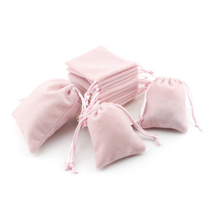 Wholesale Pink Velvet Jewelry Gift Bags with Cord Drawstring Dust Proof Jewellery Cosmetic Storage Crafts Packaging Pouches for Boutique Retail Shop
