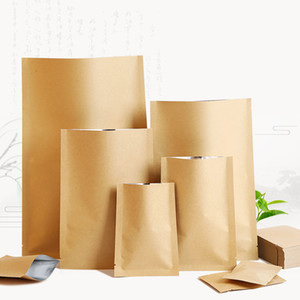 Wholesale vacuumed sealed bags for sale - Group buy 20 cmFlat flat Kraft paper Inner aluminum plating Three sided seal Gifts Snacks tea Moisture and corrosion protection seal Vacuum bag