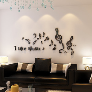 Wholesale I Like Music Musical Note Design Acrylic Wall Stickers for Living Room School Decorations Black or Red Sticker
