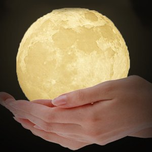 Wholesale Rechargeable D Print Moon Lamp Touch Switch Bedroom Bookcase Night Light Home Decoration Valentine s Day Kid s Gift Colors