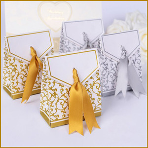 Wholesale Wedding Favour Favor Bag Sweet Cake Gift Candy Wrap Paper Boxes Bags Anniversary Party Birthday Baby Shower Presents Box gold silvery