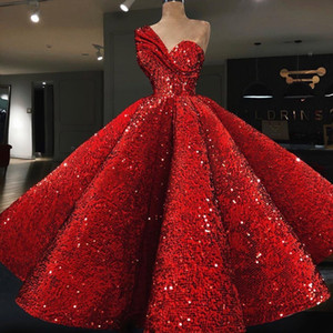 2018 Ball Gown Celebrity Dresses Red Sequined Velvet Fabric One Shoulder Tea Length Cocktail Dresses on Sale