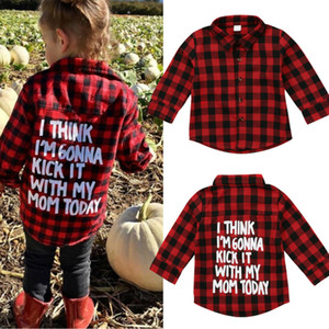 Baby Boy Girl Long Sleeve Plaids Shirt Red Black Long Sleeve Tops Blouse Casual Clothes Letter Print Preppy Kids Clothing 2-7T