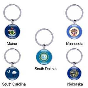 Wholesale Minnesota State Flag Keychain Maine South Dakota South Carolina USA States Glass Cabochon Car Key Accessories Women Men Gift