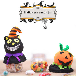 Wholesale 2018 new Halloween transparent candy jar Cartoon pumpkin and black cat childrens gift candy box Ghost Festival scene decoration