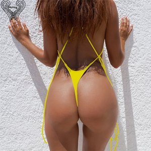 Wholesale Bkning Sexy Thong Bikini Set High Set Swimsuit G String Bathing Suit Strappy Brazilian Biquini Summer Women Swimming Suits