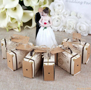 Wholesale NEW Creative Mini Suitcase Candy Box Candy Packaging Carton Wedding Gift Box Event Party Supplies Wedding favors with Card