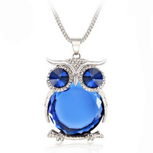 Wholesale Fashion explosion models ladies sweater chain necklace owl design rhinestone crystal pendant necklace jewelry apparel accessories