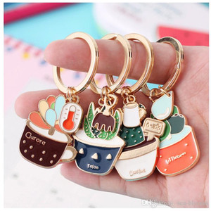 Wholesale Fashion Charm Garden Plants Cactus Key Chain Jewelry Creative Prickly Keychain Potted Succulent Key Ring Car Key Holder Women Gift D338SF