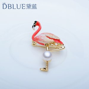 Wholesale Dai Blue Freshwater Pearl Gules Bird Flamingo Gules Chest Flower Ornament Product Brooch Dress And Dress Pearl Ornaments A911