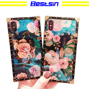 Wholesale Bestsin New wave blue light flower shell luxurious and gorgeous protective cover for Iphone Samsung phone S8 Free DHL Shipping