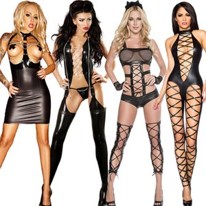 TaFiY Halloween Women Black Sexy Jumpsuit Hallow Out Faux Leather Club Wear Costumes Clothing Catsuit Cat Suits Sexy Costumes S19706