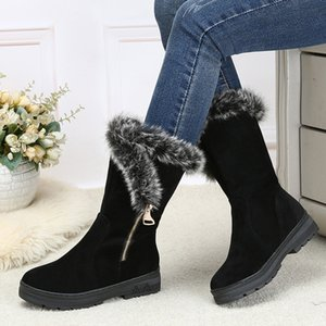 Wholesale Women Winter Shoes Women s Middle Barrel Boots The New color Fashion Casual Fashion Flat Warm Woman Snow Boots