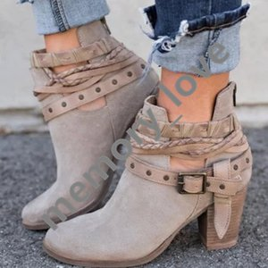Wholesale chunky ankle boots buckle ankle boots Velvet Women Boots winter adjustable short pu material retail pairs
