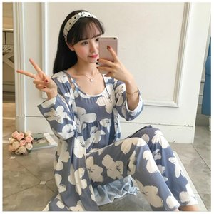 Spring Autumn Cotton Print Pajamas Women Strap+Long-Sleeve+Trousers Sexy Sweet Summer Three-Pieces Pajamas Suits Plus Size