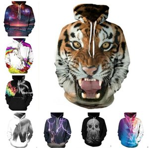Christmas Santa NWT Autumn Winter 3D Animal Print Fashion Sport Women Hoodies Coat With Hat Pocket Digital Print Hooded Pullovers on Sale