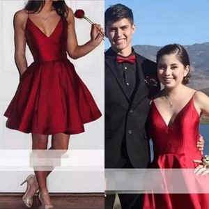 2018 Low Price Homecoming Dresses Short Spaghetti Straps A Line Burgundy Satin Short Mini Prom Dresses Formal Girls Party Dresses Custom on Sale
