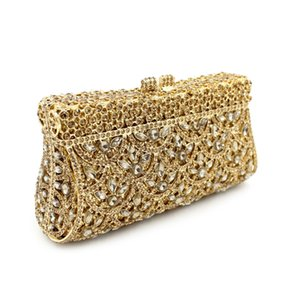 Wholesale New Glitter women beaded clutch gold evening bags with chains handbag wedding dress bag party purse Banquet package bags