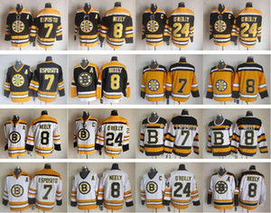 Wholesale 10free DHL mix order 7 Phil Esposito 8 Cam Neely 24 Terry O'Reilly Ice Hockey Jerseys 75th Vintage CCM Top Quality