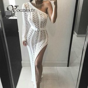 Wholesale Long One Shoulder Knitted Maxi Sweater Dress Sexy Side Split Women Club Wear Hollow Out Bandage Dresses Female Elegant Vestdios