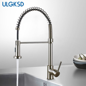 wholesale Kitchen Faucet Pull Down Sprayer Nozzle Hot and Cold Water Mixer Tap Single Handle Brass Para Kitchen Sink